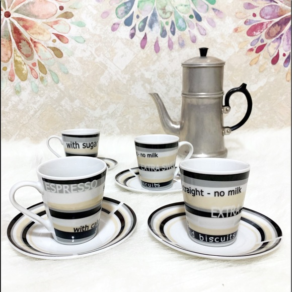 Other - Set of Four Demitasse Cups & Saucers